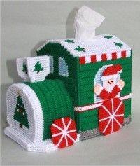 everything plastic canvas | Plastic Canvas-Christmas Train Tissue Topper Plastic-Canvas-Kits.Com