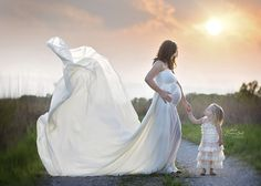 Marissa Gown - Long Flowing Sheer Chiffon Straight Top Maternity Gown