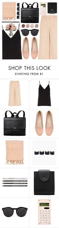 """Black Backpack"" by jiabao-krohn ❤ liked on Polyvore featuring J.Crew, Raey, Monki, Witchery, Terre Mère, Maison Margiela and Illesteva"