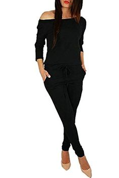 563e05624a90 Fixmatti Women s Elegant Boat Neck Long Sleeve Full Length Rompers  Jumpsuits Black M.