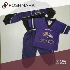 NFL Ravens Team Apparel Bundle Your little Ravens fan can be all ready for game day with this great NFL Team Apparel brand bundle. Warm up suit is sized 24 months and features cozy cotton-lined zip up jacket and pants with elastic cuffs. Ravens team jersey is  also NFL Team Apparel brand, sized 2T. Excellent used condition, no stains. 100% smoke/pet free home. There is a less than one inch seam that is pulled apart on the back of the jacket near the top center by the white piping. Easily…