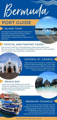 This port guide explores all the things to do in beautiful Bermuda. Get beyond the Royal Naval Dockyard to visit historic St. George, the capital city of Hamilton, the pink sand beaches like Horseshoe Bay Beach, or perhaps the hidden underworld. Bermuda Vacations, Bermuda Travel, Fiji Travel, Cruise Travel, Cruise Vacation, Cruises To Bermuda, Beach Travel, Travel Tips, Cruise Port