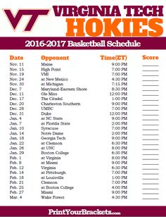 Virginia Tech Hokies 2016-2017 College Basketball Schedule