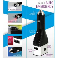6 in 1 Emergency Automotive Tool and Charger |    $17.99 OUR PRICE