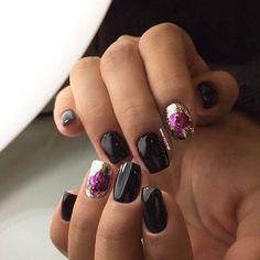 Black dress nails, Black glossy nails, Black nail art, Evening nails, Evening short nails, Ring finger nails