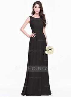 A-Line/Princess Scoop Neck Floor-Length Chiffon Bridesmaid Dress With Ruffle (007068368)