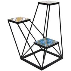 Three Hand-Painted Antique Colorful Tiles Serve As Shelves Or Table Tops In This Original Dynamic Structure By Francesco Della Femina. Modern Design Is Complem…