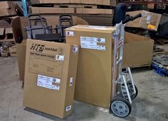 HTS Systems' HTS-20S Swing Mount Ultra-Rack cargo van unit ready for UPS Ground shipping. HTS-20S corrugated shipping boxes designed and manufactured by Danaken Designs of Scranton, Pennsylvania.