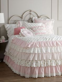 Pretty ruffles and ruching on this lovely shabby chic girly bedding from Neiman Marcus Kids