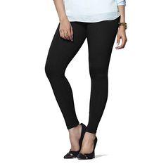 Basic Black Cotton & Lycra Leggings- Full Length. #BlackLegging #StylishLegging #EstroloFashion