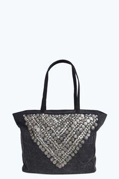 Emilia Embellished Denim Tote Bag