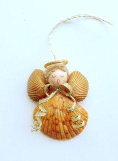 scallop shell angel ornaments | Orange Scallop Shell Angel