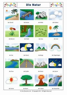Nature flashcards for children | Die Natur | Teaching early learners nature vocabulary easy and with fun
