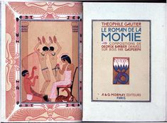 George Barbier, plate depicting Egyptian entertainments (on verso page of opening) and vignette of stylized flower (on recto page of opening), engraved by E. Gasperini and printed by Robert Coulouma, in Théophile Gautier, Le roman de la momie (Paris: A.  G. Mornay, 1929), frontispiece and title page