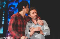 """this was a moment after Richard had discussed Rob's stroke during autos at Torcon. Completely unscripted, Matt came over and kissed Rob's head. I dare you to find a cast that cares more about each other than my cast."" Matt Cohen & Rob Benedict - Saturday Panel - Salute to Supernatural Dallas 2015 (photo by grumpyjackles on tumblr )"
