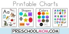Free Printable Classroom Charts from PreschoolMom.com  Shapes, ABC's, Colors, Science, Life Cycle, Numbers and more!  FREE