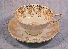 Paragon Teacup And Saucer, White With Gold Daisy And Rose Design, Rose Design, Cool Toys, Gifts For Mom, Tea Pots, Pattern Design, Daisy, Handmade Items, My Etsy Shop, Shapes