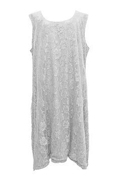 AKH Fashion Lagenlook Spitzen Kleid zweilagig in weiß XXL Mode bei www.modeolymp.lafeo.de