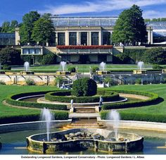 Longwood Gardens - Kennett Square PA - The Conservatory is one of the world's great greenhouse structures, it shelters 20 indoor gardens and 5,500 types of plants. The Conservatory was built in 1919 and has been periodically expanded and renovated.