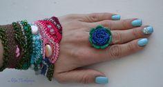 Textil joyería anillo del ganchillo Scarlet Rose de por AlisaSonya