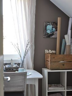 PINNED FROM INTERIORS ORIGINALS: BLUE JEANS II - fantastic paint colour & the Vespa photo on the wall is the perfect accent!