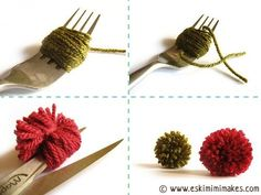 I believe the best way of making small pompoms is using a fork. There are many ways of making nice, full and round looking pompoms (pompons, pom-poms or pom-pons as they are variously written) but … Cute Crafts, Crafts To Do, Yarn Crafts, Crafts For Kids, Arts And Crafts, Diy Crafts, How To Make A Pom Pom, Knitting Supplies, Crafty Craft