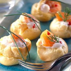 Petits choux farcis à la crème de saumon