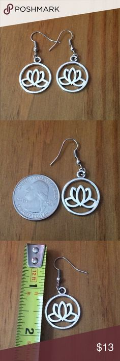"NWOT Lotus Earrings Delicate & feminine. Silver plated hanging earrings for pierced ears. Approximately 2"" long. Please ask if you have questions. Jewelry Earrings"