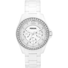 Fossil Watch, Women's Riley White Nylon Plastic Bracelet 38mm ES3252 $105