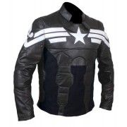 CAPTAIN AMERICA WINTER SOLDIER – BLACK  Here's a versatile leather jacket worn by America's greatest hero – Captain America, in the movie Winter Solider. It's a versatile, elegant design carrying original design elements from Captain America's real jacket. This high-neck jacket features white star logo embossed on the chest along with the three strips. This jacket form 'The Leather Factory' comes with zipper closure on the front and cuffs. It's reinforced with additional padding for comfort…