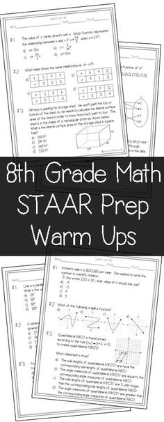 These STAAR prep warm ups are perfect review for my 8th Grade Math students!