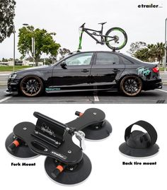 Carry 1 bike on your vehicle's roof, trunk, or glass with this fork-mount-style rack. 3 Vacuum cups allow the rack to attach to your car in seconds and it won't scratch or dent your car. Rack fits easily into a bike bag or carry-on luggage.