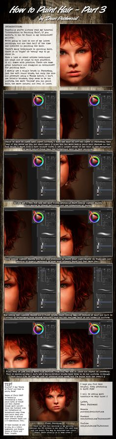 How to paint Hair - Part 3 by Dean Packwood on @DeviantArt. Digital Painting in Photoshop.