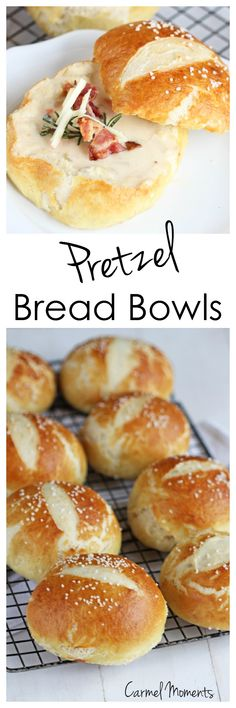 Crusty Pretzel Bread Bowls - Tender soft dough surrounded by a crispy shell, sprinkled with coarse salt. These pretzel bowls are perfect for your favorite soup.