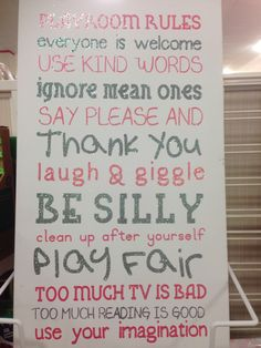 Kids Rules for playroom