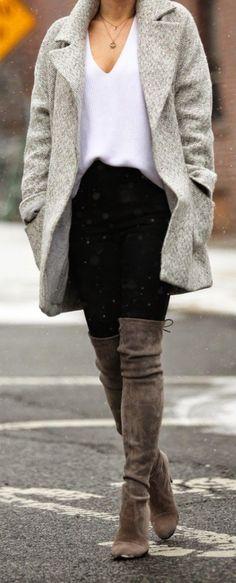 #winter #fashion / gray coat + knee-length boots