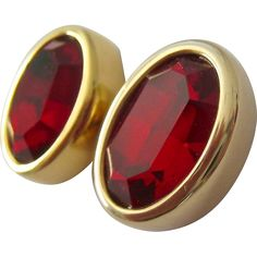 Swarovski S.A.L. Red Crystal Gold Tone Post Earrings