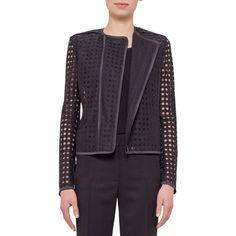 Akris punto Circle-Embroidered Long-Sleeve Jacket (10.830 DKK) ❤ liked on Polyvore featuring outerwear, jackets, black, slim jacket, black long sleeve jacket, akris punto, embroidery jackets and black slim jacket