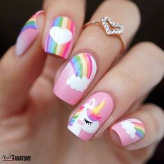 50 Magical Unicorn Nail Art Designs - Many people have a passion for unicorn nails. And Unicorn nails are becoming a unique trend. Little Girl Nails, Girls Nails, Baby Girl Nails, Cute Nail Art, Cute Nails, My Nails, Girls Nail Designs, Cute Nail Designs, Fruit Nail Designs