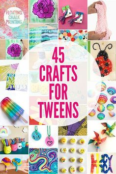 Looking for ideas for your creative tween? This collection of 45 summer crafts for tweens features a heap of fun, creative project ideas. crafts for girls 45 Fabulously Fun Summer Crafts for Tweens: Ideas for Year Olds Diy Crafts For Teen Girls, Summer Crafts For Kids, Fun Diy Crafts, Jar Crafts, Diy Craft Projects, Creative Crafts, Preschool Crafts, Arts And Crafts For Teens, Art Ideas For Teens