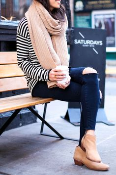 Stripe sweater, ripped jeans + booties.