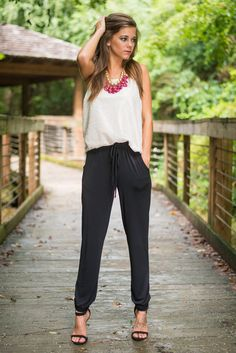 Kiss On the Chic Jogger Pants, Black