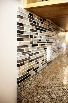 DIY Tile Backsplash (Riviera Beach) The Tile Shop.maybe for the accent rows between the subway tiles. Kitchen Redo, Kitchen Tiles, Kitchen Brick, Glass Backsplash Kitchen, Kitchen Stove, Kitchen White, Cheap Kitchen, Kitchen Floor, Diy Tile Backsplash