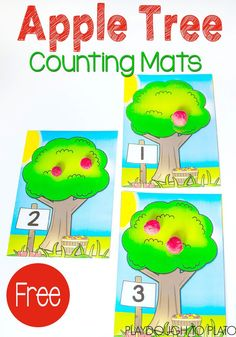 Play dough mats are such a fun way to work on counting! These Apple Tree Counting Mats are an adorable all way to make some apples and count with your preschooler or kindergartner!