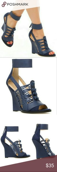 Gwen Stefani peep toe wedge sandal ankle strap Blue faux leather and faux suede steadily wedge heel,  w back zipper and tassel details GX by Gwen Stefani Shoes Wedges