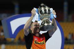 SRH skipper David Warner with IPL9 Trophy