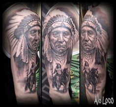 Native American Indios half sleeve tattoo by Alo Loco, London tattoo artist