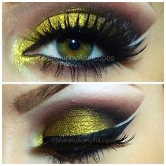 Beautiful eye makeup Beautiful eye makeup – Das schönste Make-up Beautiful Eye Makeup, Pretty Makeup, Beautiful Eyes, Gold Smokey Eye, Smokey Eye Makeup, Bee Makeup, Makeup Tips, Glam Makeup, Makeup Tutorials
