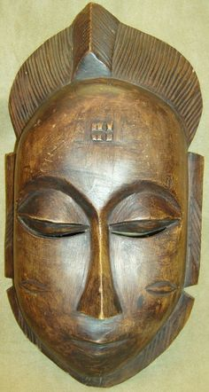BAULE PORTRAIT MASK Hand Carved Wood Figure African Art Collectibles