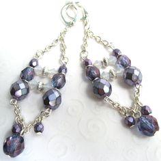 Beaded Chandelier Earrings Czech Beads Purple by SkyLineJewelry